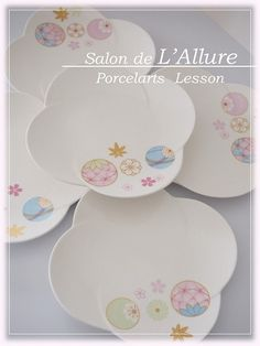 *ポーセラーツ* 品良く可愛い♥和皿|シルクフラワー&シュールデコール&ポーセラーツ名古屋教室『Salon de L'Allure』