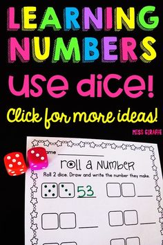 Learning 2 digit numbers is super fun and easy with this dice game! Kids roll 2 dice to create a two digit number then draw the dice and write the number. You can play over and over since there are so many different numbers to roll! SO many more ideas on this page! Early Learning, Student Learning, Kids Learning, Math Numbers, Learning Numbers, Kindergarten Activities, Learning Activities, Number Sense Activities, Primary Maths