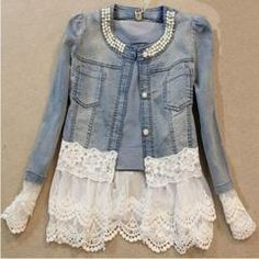 Vintage Beaded Lace Denim  Women Jacket - Daisy Dress For Less - 1