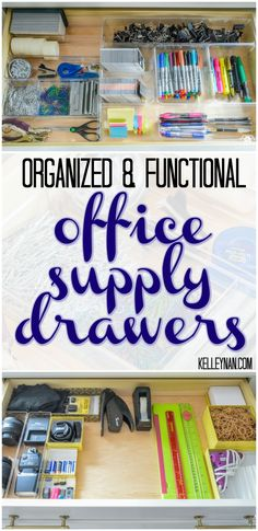 Organized And Functional Office Supply Drawers   Kelley Nan  Home Office  Organization Ideas
