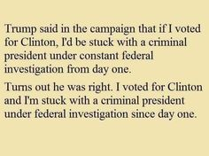 And with all of the indictments and guilty pleas in the Russian investigation maybe the outcome of criminal prosecution will also happen. MAKING AMERICA GREAT AGAIN???