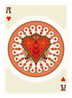 Nouveau Playing Cards Ace of Hearts - playing cards art, game, playing cards collection, playing cards project, cards collectors, design, illustration, card game, game, cards, cardist, cardistry