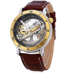 YISUYA único automático Self-winding mecánico esqueleto relojes para hombres cool Steampunk esfera Business Casual automático reloj de pulsera con banda de piel auténtica marrón: Amazon.es: Relojes