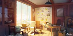 Artwork showcasing interior spaces and the design and detail within. Scenery Background, Cartoon Background, Animation Background, Environment Painting, Environment Concept Art, Environment Design, Paris Manga, Episode Backgrounds, Game Concept Art