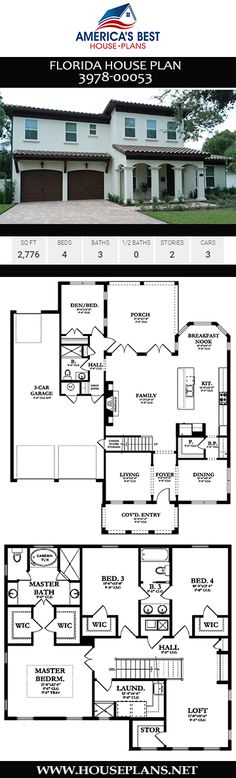 A 2,776 sq. ft., Florida home, Plan 3978-0053 was designed to give you 4 bedrooms, 3 bathrooms, a formal living room, extra nook, and a 3 car garage. Florida Living, Florida Home, Florida House Plans, Formal Living Rooms, Central Florida, House Goals, House Front, Car Garage, Nook
