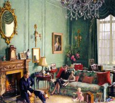 Inside Clarence House by Edward Halliday. Seen is Prince Philip, Princess Elizabeth, Prince Charles, Princess Anne. Clarence House, English House, English Style, Buckingham Palace, John Nash, Kensington, Royal Residence, British Royal Families, Royal House