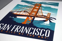 this is 100% original artwork San Francisco Golden Gate Bridge Retro Vintage Poster Silk Screen Print hand screen printed 3 color design.  • ARTWORK SIZE IS 12X18 • PRINTED ON WHITE HEAVY COLD PRESSED ARTBOARD (VERY THICK) • LIMITED RUN OF 50 PRINTS • SIGNED AND NUMBERED! (SCREEN PRINTS ONLY)  • ALSO AVAILABLE IN 18 X 24 POSTER • PRINTED ON PREMIUM, DURABLE POSTER PAPER FRAME NOT INCLUDED BUT CAN BE PURCHASED BELOW!  Check out my real beach wood frames here! perfect for any screen print…