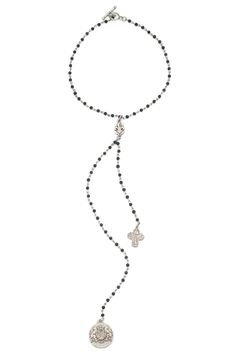 """16"""" sandblast black jasper micro-linkage with 13"""" drop and antiqued sterling silver-clad FDL pendant, Lourdes cross and Aime medallion by French Kande"""