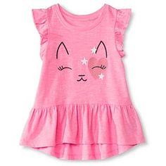 Toddler Girls' Cat Icon Peplum Tee Pink - Circo™