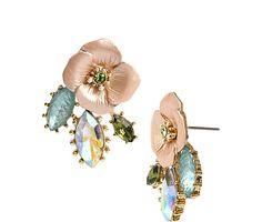 QUEEN BEE FLOWER RHINESTONE STUD EARRINGS: Betsey Johnson
