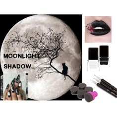 Moonlight shadow - Halloween nail art by b-whalley on Polyvore featuring beauty and Context