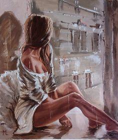 Monika Luniak - Paintings for Sale Afrique Art, Art Drawings Sketches, Portrait Art, Erotic Art, Figurative Art, Love Art, Female Art, Female Drawing, Art Girl