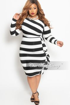 2925cdf4ab0 Final Sale Plus Size Long Sleeve BodyCon Dress with Side Ruffle in Black  and White Stripe Print