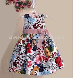 stylelist floral printed dress w/ bow tie waistbelt for little girl party dress