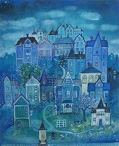 konstnär, taiteilija, artist House Illustration, Art Graphique, Naive Art, Nocturne, Painting Inspiration, Home Art, Art Drawings, Art Projects, Artsy