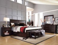 Shop Pulaski Furniture Brown Master Bedroom Set with great price, The Classy Home Furniture has the best selection of Master Bedrooms to choose from Brown Master Bedroom, King Bedroom Sets, Queen Bedroom, Bedroom Furniture Sets, Dream Bedroom, Bedroom Benches, Bed Bench, Pretty Bedroom, Queen Headboard