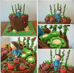 Cake Seller Mondays : May 27 2014 Favorite Cakes Vegetable Garden Patch fondant topper cake. Miniature tomatoes, cabbages sack, so cute.