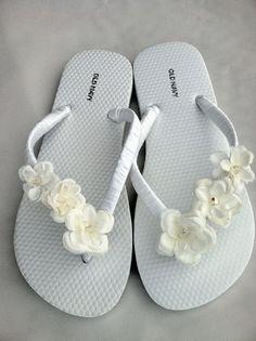 The Rachel White/Ivory Flip Flop Sandal for all by LuxeSandalArt