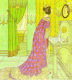 Illustrated by W. C. Drupsteen. Snow White's stepmother before the mirror.