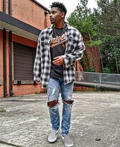 It was a cooler day today in ATL & it got me in the mood to wear something Fall-ish.   Flannel & T-shirt - Thrifted Jeans - H&M Shoes - Vans  For more visit http://www.J-SOMusic.com  #Mensfashion #Mensstyle #hm #vans #grunge #minimal