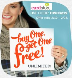 Cardstore.com Offers Buy 1, Get 1 Free on All Cards! Buy 5, Get 5 Free, and so on!