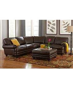 Wyatt Leather Sectional Living Room Collection - Furniture - Macy's