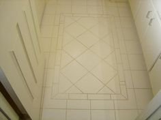 entry tile pattern but add accent colors Best Bathroom Flooring, Bathroom Floor Plans, Mosaic Tile Art, Mosaic Glass, Floor Design, Tile Design, Entry Tile, Bathroom Trends, Bathroom Designs