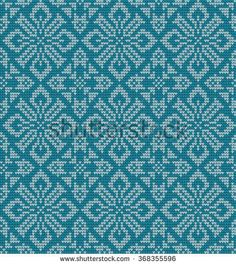 knitted winter flower pattern vector