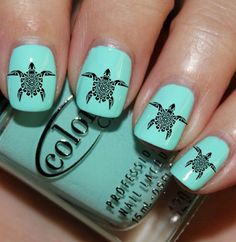 This nail art price is soooo cute!! The colors are Aqua and a black turtle witch I have no idea how you put on the turtles on your nails!!
