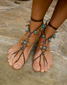 HULA HOOPING BAREFOOT sandals mustard yellow brown belly dance yoga foot jewelry made to order via Etsy