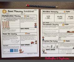 Good Morning, Sunshine! ☀️4th Grade Math Morning Work {September}