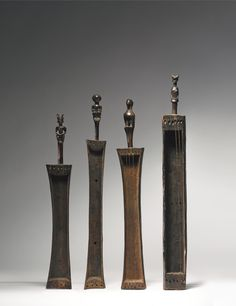 FOUR KWERE OR ZARAMO ZITHERS, TANZANIA Heights: 20 7/8 in (53 cm), 23 1/2 in (59.7 cm), 23 1/2 in (59.7 cm), 26 in (66 cm)