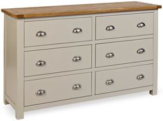 Wide boy chest of drawers with lovely light oak top and matt painted stone colour sides, available at TRADE PRICE..