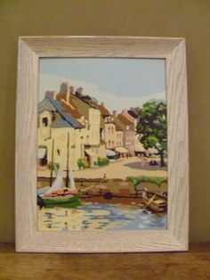 6a727a5aa4 Vintage Paint by Number Sail Boat Landscape in Village Harbor Scene Mid  Century Wall Art