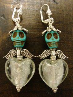 DIA DE LOS MUERTOS/DAY OF THE DEAD~E. BARNES Day Of The Dead Sugar Turquoise Skull & Glass Heart Earrings