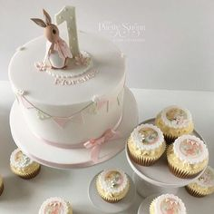 Beatrix Potter Flopsy Bunny first birthday cake and cupcakes - Blue birthday - Peter Rabbit Cake, Peter Rabbit Birthday, 1st Birthday Cake For Girls, First Birthday Cakes, Bunny Birthday Cake, Birthday Ideas, Girl Cupcakes, Cupcake Cakes, Cupcake Ideas