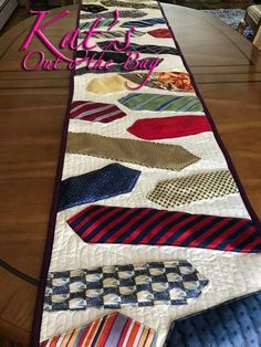 Memory quilt - Neck Tie Memory Table Runner Table Runner Quilt Memorial Quilt made of Grandpa's Ties Necktie Quilt Keepsake Necktie Quilt Runner – Memory quilt Quilting Projects, Sewing Projects, Quilting Ideas, Fabric Crafts, Sewing Crafts, Necktie Quilt, Quilt Patterns, Sewing Patterns, Quilts For Men Patterns