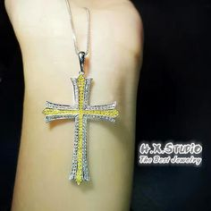 Solid 18k Diamond Cross Pendant, Canary Diamond Yellow Diamond Cross Pendant, Fancy Color Diamond Christian Cross Jewelry, Wedding, Gift