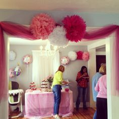 Bridgette's 1st birthday party decorations. Pink. Tutu. Tulle.