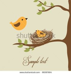 Flying bird and little bird in the nest - stock vector