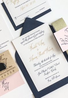 Navy, Blush and Gold Wedding Invitation