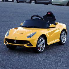 2015 New Licensed Ferrari F12 Berlinetta Kids Boy Girl Ride on Power Wheels Battery Toy Car,Remote control,Lights,Music-Yellow