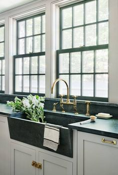 Most up-to-date Absolutely Free modern Farmhouse Sink Thoughts Being from Irelan. Most up-to-date Absolutely Free modern Farmhouse Sink Thoughts Being from Ireland and having included the beautiful Belf. Soapstone Kitchen, Farmhouse Sink Kitchen, New Kitchen, Kitchen Decor, Soapstone Counters, Modern Farmhouse, Kitchen Backsplash, Black Counters, Green Kitchen Countertops