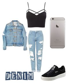 """""""#Denim"""" by roxana-gabriela ❤ liked on Polyvore featuring Topshop, Charlotte Russe, Puma and plus size clothing"""