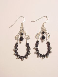 Macrame, Wire and Chain Dangle Earrings by frisado. Explore more products on http://frisado.etsy.com