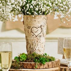 Personalised Rustic Birch Wood Vase - decorative accessories