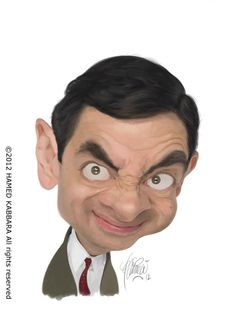 Caricatura de Rowan Atkinson.