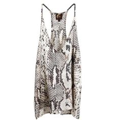 Blu Moon Exile Tank in Snake ($95) ❤ liked on Polyvore featuring tops, shirts, tank tops, tanks, snake tank, white tank top, rayon shirts, white singlet and shirts & tops