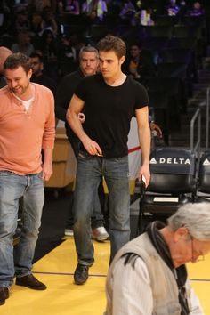 Paul Wesley out at the Lakers game. The Los Angeles Lakers defeated the Charlotte Bobcats by the final score of 101-100 at Staples Center in downtown Los Angeles, CA.