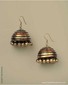 AT-0018 Jhumka Gold, sakhifashions, terracotta, earthy, fashion, trendy